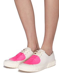 both Rubber patch leather low top sneakers