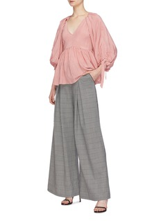 Hellessy Houndstooth check plaid wide leg pants
