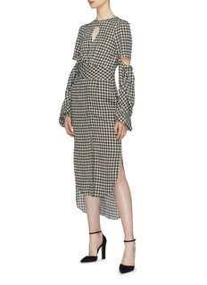 Hellessy 'Sloane' cutout drape high-low houndstooth dress