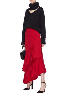 Hellessy 'Poppy' side split ruffle drape skirt