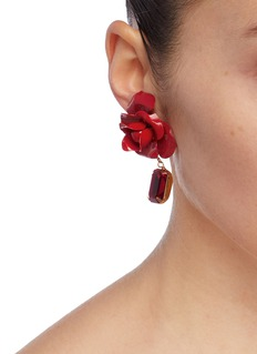 Jennifer Behr 'Cordelia' rose stud glass crystal drop earrings