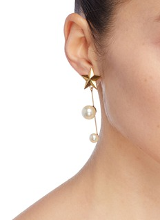 Jennifer Behr Faux pearl moon and star drop mismatched earrings
