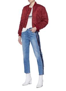 3x1 'W3 Cora Crop' frayed stripe outseam jeans