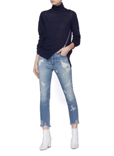 3x1 'W4 Collette Crop' bleached distressed cuff skinny jeans