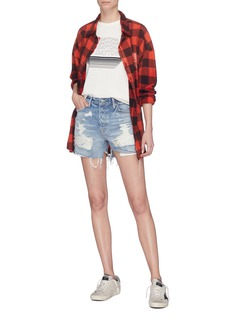 GRLFRND 'Jourdan' frayed cuff ripped denim shorts