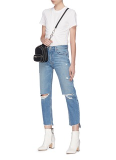 GRLFRND 'Helena' frayed staggered cuff ripped jeans