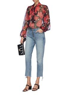 GRLFRND 'Renn' lace-up staggered cuff jeans