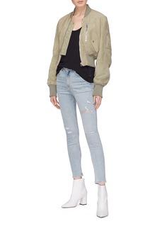 rag & bone/JEAN Ripped high rise cropped skinny jeans