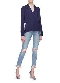 L'Agence 'Cara' tie silk georgette peplum wrap blouse
