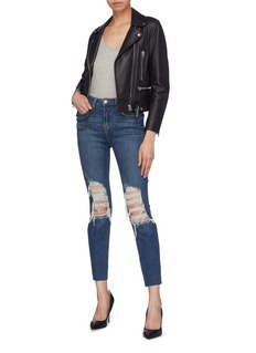 L'Agence 'Luna' skater chain ripped slim fit jeans