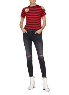 Current/Elliott 'The Brittan' ruffle cutout stripe T-shirt