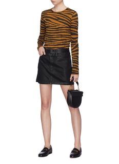 Frame Denim 'Le Mini' coated denim skirt