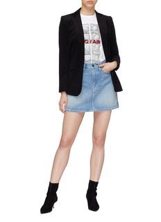 Frame Denim 'Le Studded' washed denim skirt