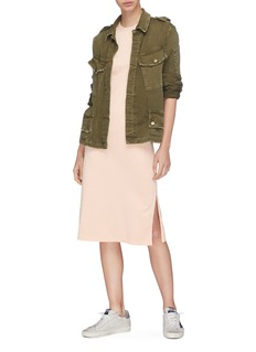 Theory Chest pocket Pima cotton midi muscle dress