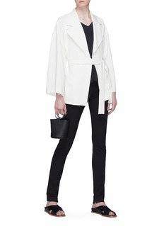 Theory Notched lapel belted crepe robe jacket