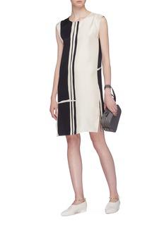 Theory 'Minimal' stripe silk twill shift dress
