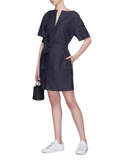 Theory Belted split neckline denim shift dress