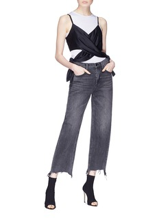T By Alexander Wang Cross tie cutout silk charmeuse camisole top