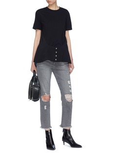 T By Alexander Wang Button silk panel T-shirt