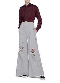 T By Alexander Wang Distressed wide leg sweatpants