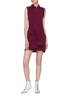 T By Alexander Wang Sleeve tie stripe polo dress