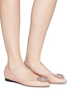 Pedder Red 'Jeanne' strass pavé square brooch leather flats
