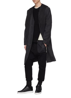 SIKI IM / DEN IM Melton panel herringbone coat