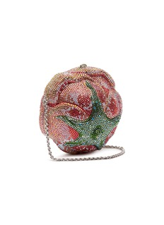 Judith Leiber 'Apricot Rose' crystal pavé minaudière