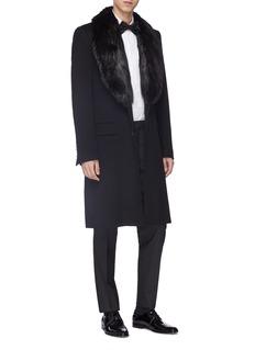 Dolce & Gabbana Fur collar virgin wool-cashmere melton coat