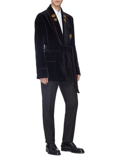 Dolce & Gabbana Crown bee embellished cotton-silk velvet robe jacket