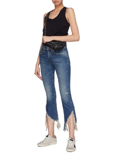 R13 'Spiral Kick' shredded cuff cropped flared jeans