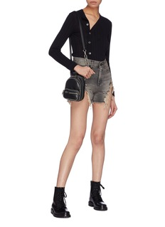 R13 'Shredded Slouch' denim shorts