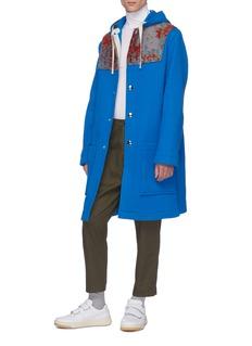 Acne Studios Abstract jacquard panel hooded melton coat