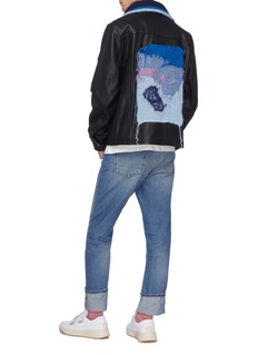 Acne Studios Abstract graphic knit appliqué leather jacket
