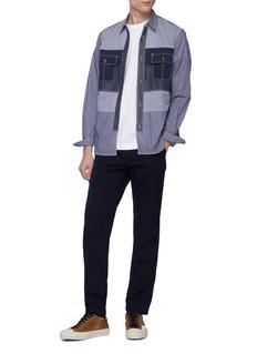 Comme Des Garçons Homme Contrast panel gingham check stripe shirt