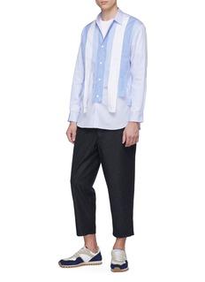 Comme Des Garçons Shirt Mix pattern strap stripe shirt