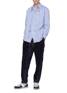 Comme Des Garçons Shirt Flannel panel gabardine jogging pants