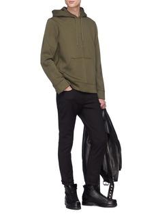 Neil Barrett Slogan print side zip scuba jersey hoodie