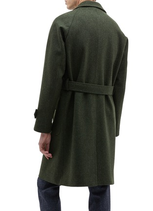 Back View - Click To Enlarge - RING JACKET - Belted melton raglan trench coat