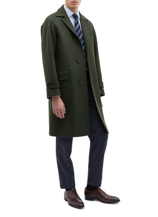 Figure View - Click To Enlarge - RING JACKET - Belted melton raglan trench coat