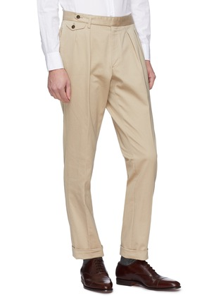 Front View - Click To Enlarge - Ring Jacket - Buckled tab pleated twill chinos