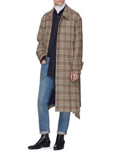 Wooyoungmi Belted tartan plaid melton coat
