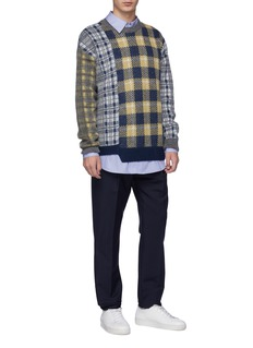 Wooyoungmi Asymmetric hem mixed check plaid sweater