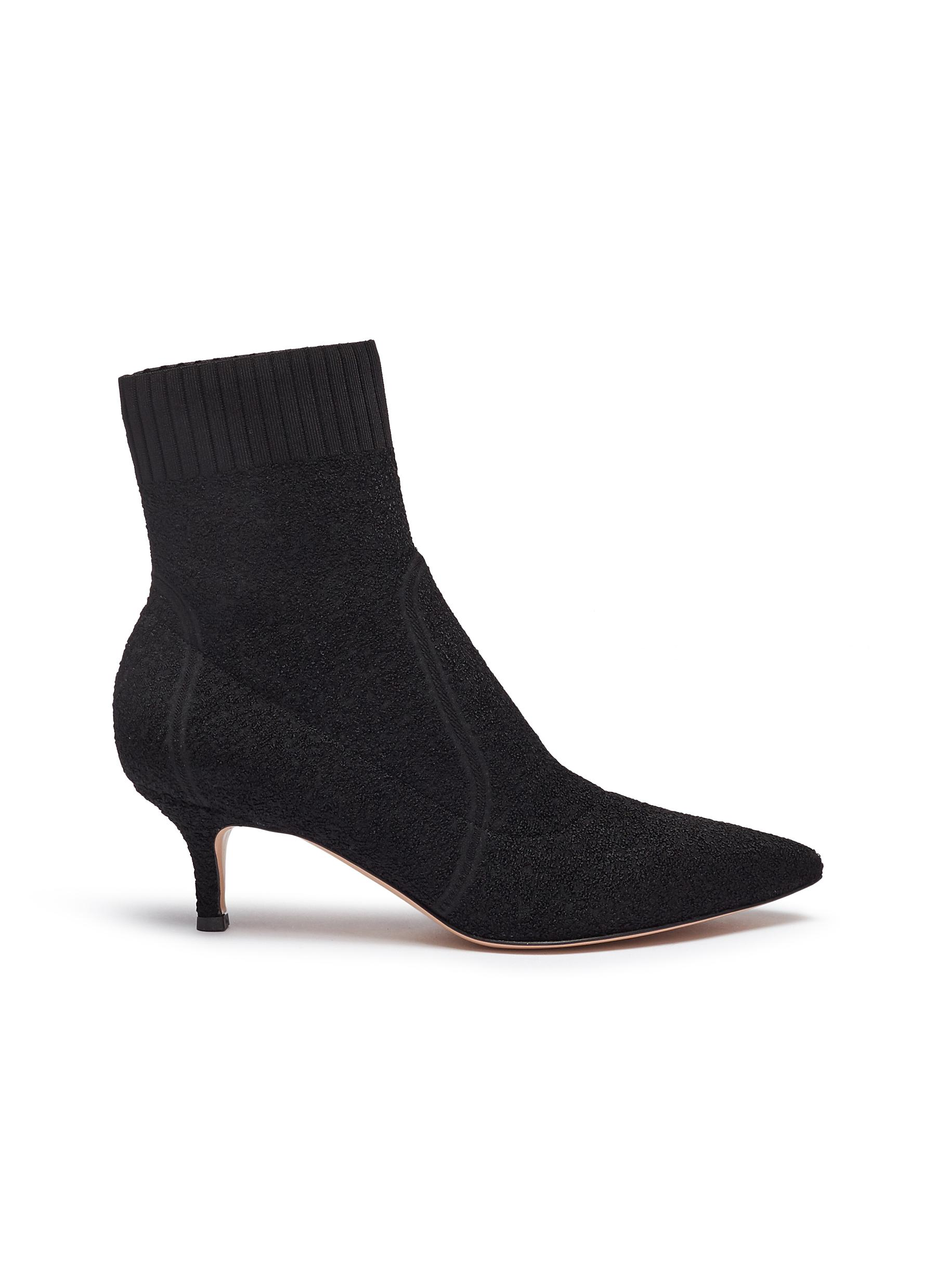 Bouclé knit sock boots by Gianvito Rossi