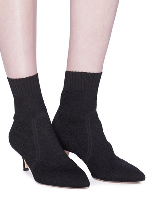 Figure View - Click To Enlarge - GIANVITO ROSSI - Bouclé knit sock boots
