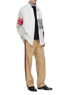 CALVIN KLEIN 205W39NYC Detachable collar floral print geometric appliqué colourblock shirt