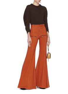 Chloé Zip contrast topstitching flared jeans