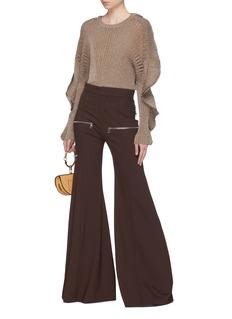 Chloé Ruffle sleeve lurex knit sweater