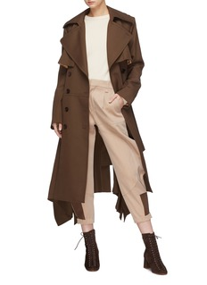 Chloé Belted drape outseam virgin wool twill trench coat