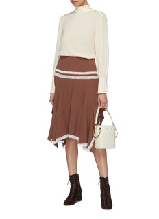 Chloé Lace trim crepe handkerchief skirt